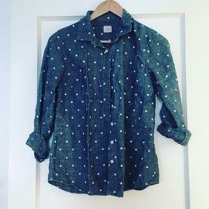 "J. Crew ""the perfect shirt"" polka dot chambray"